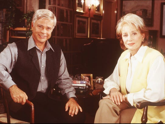 "This is an undated photo of ABC News ""20/20"" co-anchor Barbara Walters and Jim Bakker. Walters' interview with Bakker, which aired on ""20/20"" on Oct. 4 1996, focused on his life in federal prison and his relationship with former wife and PTL co-host"