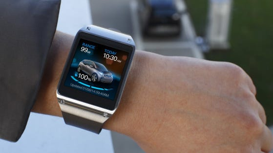 With the BMW app on Samsung Galaxy Gear smartwatch, you can check your car's remaining range, see if you left your sunroof open or windows down, or more.