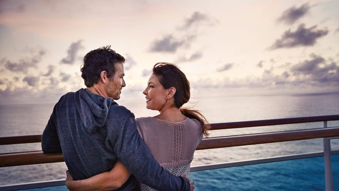 Lovebirds on a Princess cruise ship. (Just don't book one honeymoon suite for two couples.)