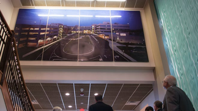 A picture of PRMC's main Salisbury campus is hung in the atrium of the new health pavillion.