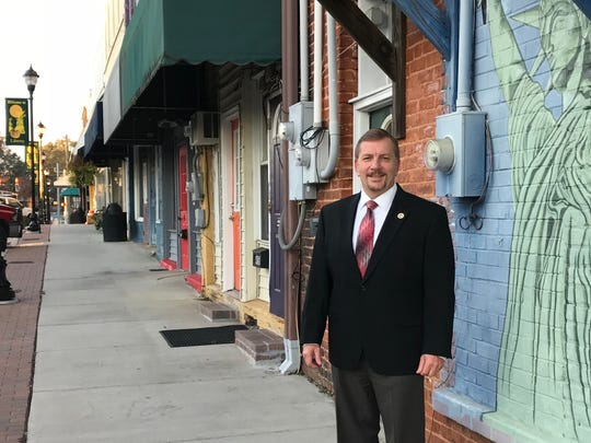 Liberty's newly elected mayor, Brian Petersen, on Commerce Street.