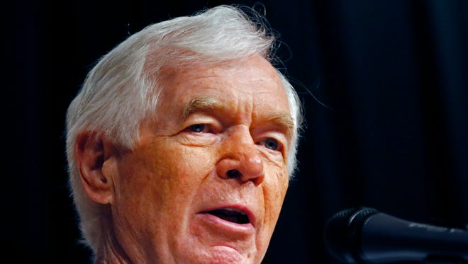 Mississippi Republican candidate, Sen. Thad Cochran speaks at a reelection rally on his behalf at the Mississippi War Memorial in Jackson, Miss., Monday, June 23, 2014. Voters head to the polls in seven states Tuesday, and two of the longest serving members of Congress face challenges that could end their careers. In Mississippi, six-term Cochran faces tea party challenger Chris McDaniel in a Republican primary runoff. McDaniel is a 41-year-old state lawmaker who led Cochran by less than 1,400 votes but didn?t win a majority in the first round of voting. (AP Photo/Rogelio V. Solis)