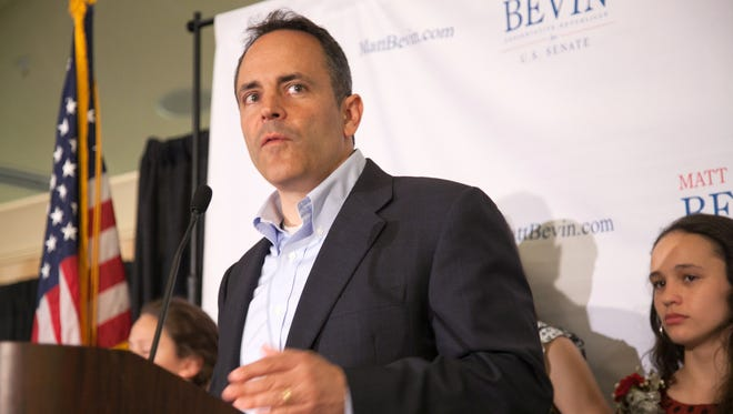 Matt Bevin delivers his concession speech to a room full of supporters. May 20, 2014