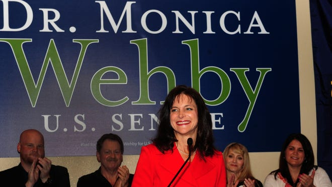 Dr. Monica Wehby greets supporters at the headquarters in Oregon City, Oregon after winning the Oregon Republican Primary race for Senate on Tuesday, May. 20, 2014.