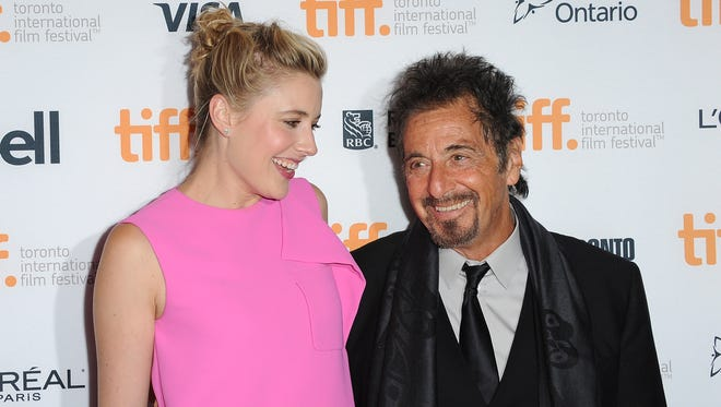 """Greta Gerwig and Al Pacino arrive at """"The Humbling"""" premiere at the Toronto Film Festival."""