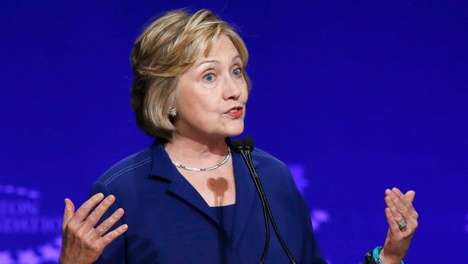Former Secretary of State and New York Democratic Sen. Hillary Clinton speaks at a student conference for the Clinton Global Initiative University at Arizona State University on March 21 in Tempe, Ariz.