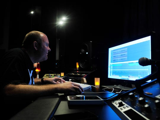 Independent producer Lee Groves works in his studio at Quad Studios in Nashville.