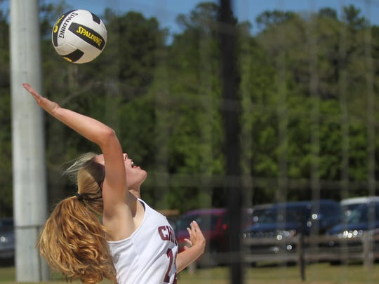 Chiles' Kelsey Mead goes for a kill at the 2018 Tallahassee high school beach volleyball city tournament at Tom Brown Park