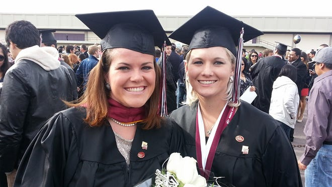 Colleen Payne, left, and best friend Hannah Farbo, right, celebrate their graduation from New Mexico State University. Farbo passed away in 2015, and Payne worked with Farbo's parents to established an endowed scholarship in her memory.