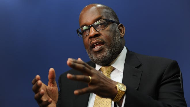 Bernard Tyson, CEO of Kaiser Healthcare, talks during an interview with USA TODAY on July 15, 2014.
