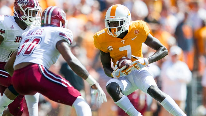 Tennessee wide receiver Brandon Johnson (7) runs down field during Tennessee's game against UMass in Neyland Stadium on Saturday, Sept. 23, 2017.
