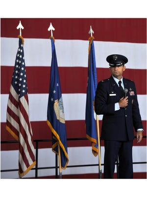 Col. David Benson addresses airmen and guests during the 7th Bomb Wing change of command ceremony at Dyess Air Force Base on Aug. 4, 2017. Benson, the outgoing commander, was relieved Col. Brandon Parker, the base's first African-American commander.