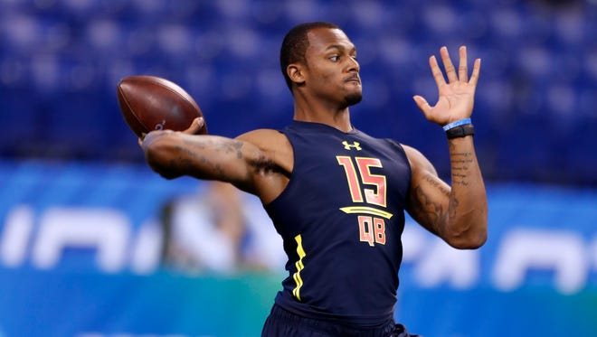Clemson Tigers quarterback Deshaun Watson throws a pass during the 2017 NFL Combine at Lucas Oil Stadium.