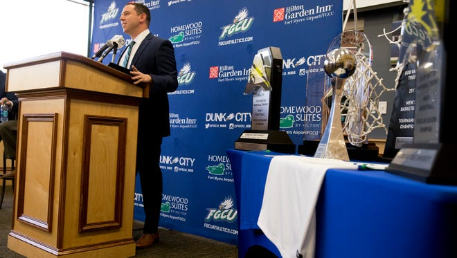 Longtime assistant coach Michael Fly is officially promoted to lead the team as its new head coach during a public press conference at Alico Arena's Hospitality Suite on Thursday in Fort Myers.
