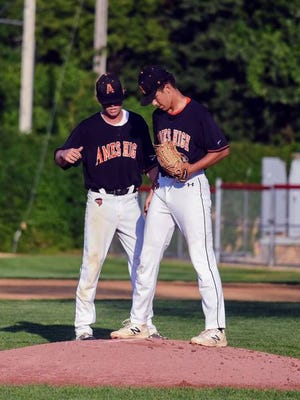 Ames senior first baseman Ben Schwartz (left) talks with sophomore pitcher Ben Amador on the mound during the Little Cyclones' 4-0 loss to Fort Dodge in the 4A substate quarterfinals Friday at Fort Dodge. Even though the season came to a close, the leadership provided by Schwartz and the rest of the senior class enabled a struggling program to turn the corner in 2020. Under first-year coach Nick Steenhagen Ames went from 8-31 in 2019 to 12-8 this summer. Photo by Joe Randleman/Ames Tribune.