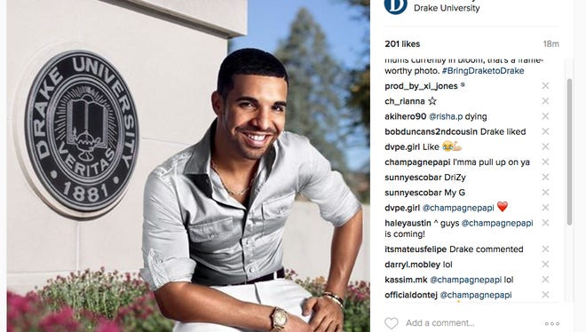 A comment from Drake the rapper on Instagram drops hint at if the superstar plans to visit Drake University on Tuesday.