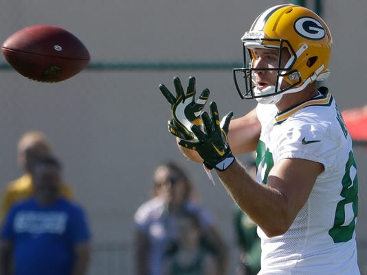 "FILE - In this July 27, 2017 file photo, Green Bay Packers' Jordy Nelson catches a pass during NFL football training camp in Green Bay, Wis. A bye week allowed the Green Bay Packers to get some much-needed rest and just as importantly push the reset button on the season after two straight losses since quarterback Aaron Rodgers got hurt. What the Packers are concentrating on is getting more out of healthy players on both sides of the ball to try to stay in playoff contention regardless of whether or not Rodgers returns. A best-case scenario would be Week 15 against Carolina. For now, backup Brett Hundley will be under center indefinitely. ""I don't like when people come out and say everyone else has to do a little bit more, because if you can do a little bit now, why weren't you doing that little bit more earlier?"" receiver Nelson said. ""So, everyone still has to just prepare the same, go out and play to the best of our ability and just believe in Brett."" (AP Photo/Morry Gash, File)"