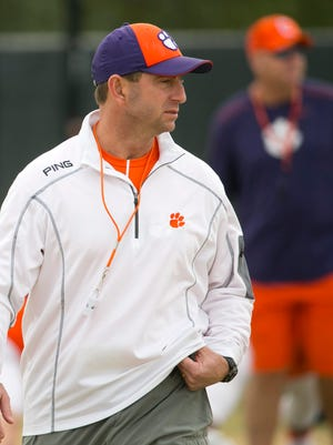 Clemson head football coach Dabo Swinney during a practice at Scottsdale Community College in Scottsdale on Wednesday, December 28. 2016. Clemson plays Ohio State in the Fiesta Bowl on December 31, 2016.
