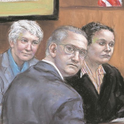 In this artist's sketch, Lenore Matusiewicz (left),