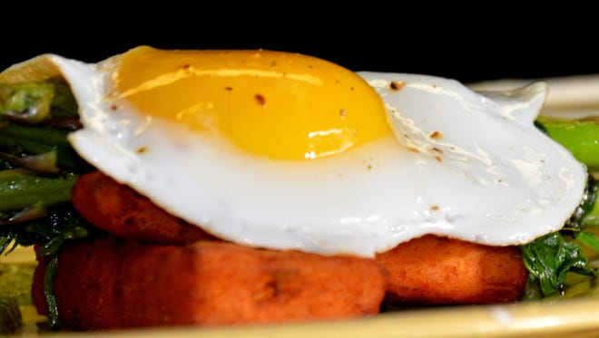 An egg entree waits to be served at OliBea in the Old City.