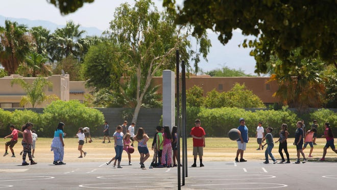Children on recess break, Thursday, June 25, 2015, at Sunny Sands Elementary School in Cathedral City. The school along with other elementary schools in the Palm Springs Unified School District will end year-round school and return to a traditional school calendar after 20 years.