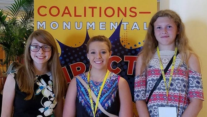 Schuyler County teens, from left, Amber Updike, Kassandra Snyder, and Kelsey Kernan,.attended the 2016 Mid-Year Training Institute of the Community Anti-Drug Coalitions of America.