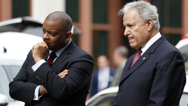 """""""Cybersecurity is a safety issue,"""" said U.S. transportation chief Anthony Foxx, left, with Mark Rosekind of the highway and traffic safety agency."""