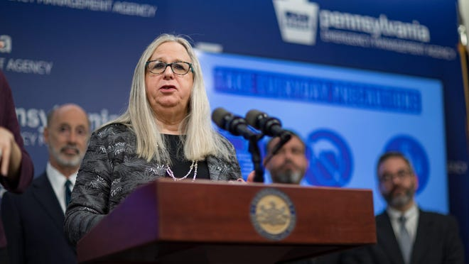 Pennsylvania Department of Health Secretary Dr. Rachel Levine speaks during a news conference that confirmed the first two presumptive positive cases of 2019 Novel Coronavirus (COVID-19) in Pennsylvania on March 6.