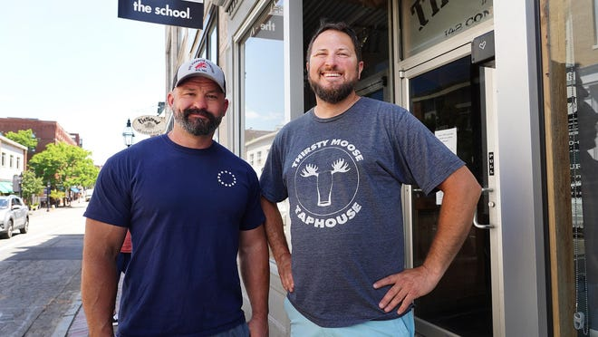 """Al Fleury, owner of the Goat restaurant in Portsmouth, as well as Bernie's Beach Bar, the Goat, Wally's Pub and the former Colony Hotel in Hampton, and Joe Kelley, owner of the Thirsty Moose,  along with """"Jo"""" Kelley, owner of Cup of Joe, are working to close four Market Square streets for outdoor dining and shopping."""