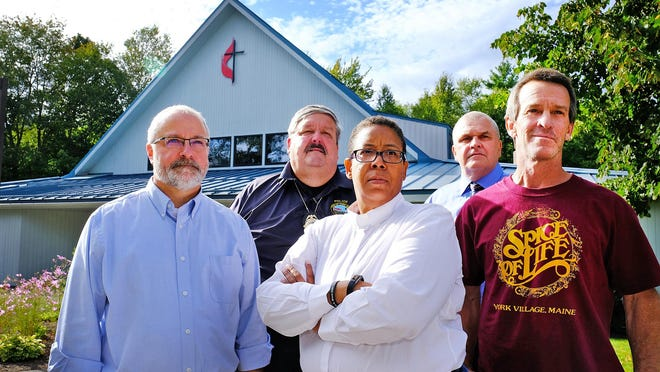 York community leaders, including Town Manager Steve Burns, left, Police Chief Charlie Szeniawski, the Rev. Effie McAvoy of the York-Ogunquit United Methodist Church, Superintendent of Schools Lou Goscinski, and Charlie Black, took part in a forum on civil discourse in September 2019 at the church.