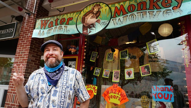 WaterMonkey in the Vaughan Mall in Portsmouth will close its downtown retail location after 27 years on July 31. Aaron Jule, giving the peace sign, and his brother Roger F. Pease will take the WaterMonkey mobile, and hope to operate out of a retail trailer at various locations.