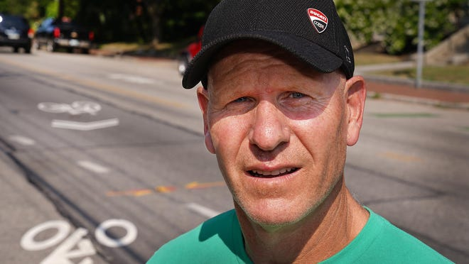 """Dave O'Neill of Greenland visits the Middle Street bike lane where he was """"doored"""" and sustained facial injuries from the July 26 bicycle accident in Portmsouth."""
