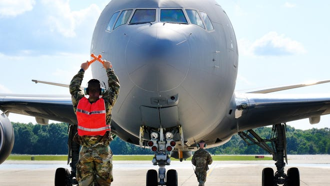 A new KC-46A Pegasus arrives at the Pease Air National Guard base in Newington.