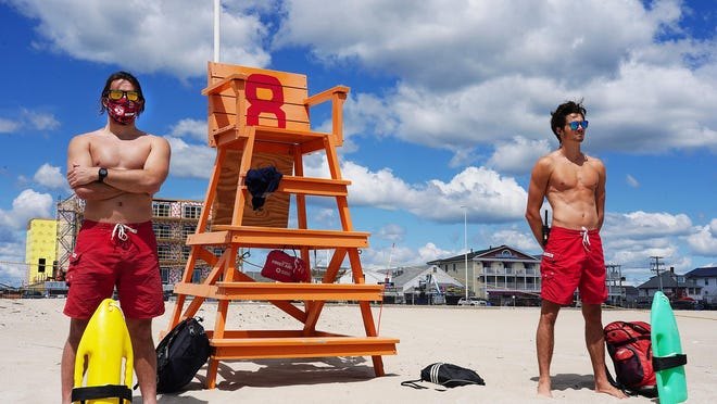 Hampton Beach lifeguards Jack McCraven, left,and James Kelley.