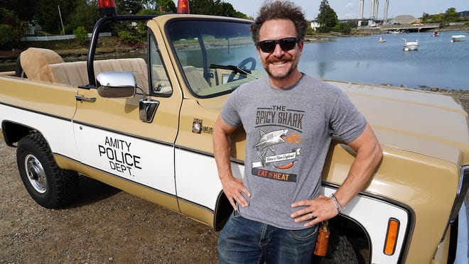 """Gabe DiSaverio of Portsmouth, owner of The Spicy Shark, purchased a 1975 Chevrolet K5 Blazer, customizing it to be a replica of the Blazer driven by Amity Police Chief Martin Brody (Roy Scheider) in the classic movie """"Jaws."""""""