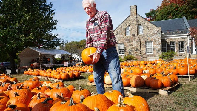 George Cooper, a volunteer at the First Parish Church Pumpkin Patch in York, opens for business Tuesday, as the patch is now open daily through Halloween, from 11 a.m. to 6 p.m.