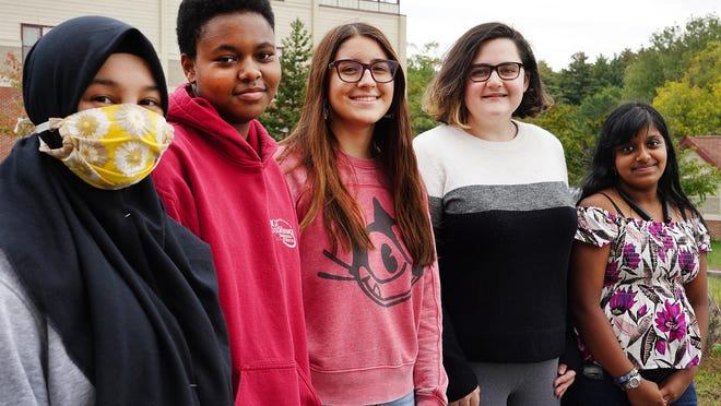 Portsmouth High School members of the We Speak social justice group, from left, Aulia Castellano, Ruby Palen-Hackett, Arden Griffin, Natalie Devito and Harini Subramanian are calling on the City Council to rename Columbus Day.