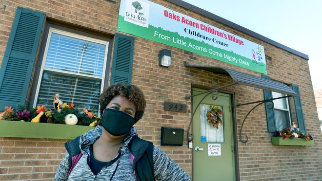Pastor Heather Boone, founder of Oaks of Righteousness, stands outside Oaks Acorn Children's Village, the fully licensed childcare facility recently opened on the Oaks Village campus to provide free and low-cost childcare for children ages birth to 5 years old.