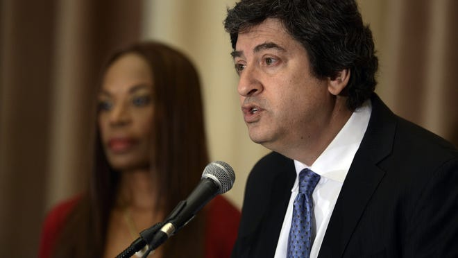 Mark Bogen speaks to the media during a press conference in 2015. Bogen, now a Broward County commissioner, also works as an attorney. One of his clients is the Wynmoor Village community in Broward, which received special access to the COVID-19 vaccine through a January pop-up clinic.