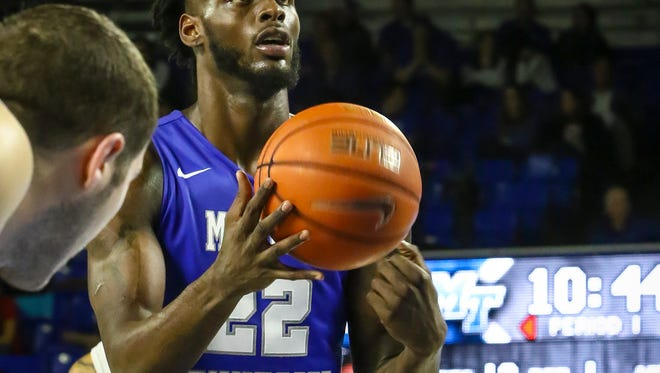 JaCorey Williams led the Blue Raiders with 24 points and 10 rebounds.