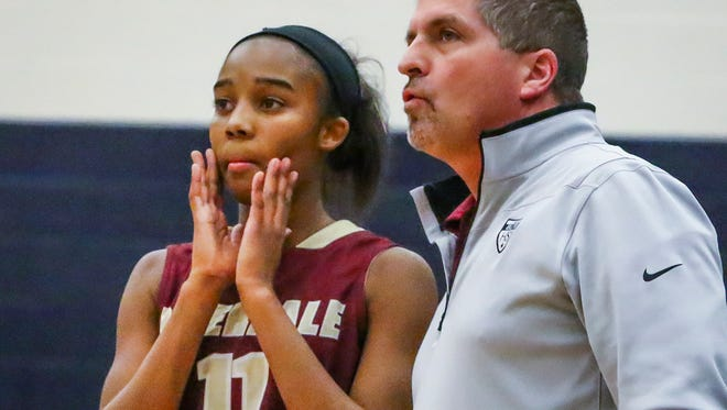 Coach Randy Coffman (right), sophomore Aislynn Hayes and the Riverdale girls basketball team are ranked No. 1 in Class AAA.