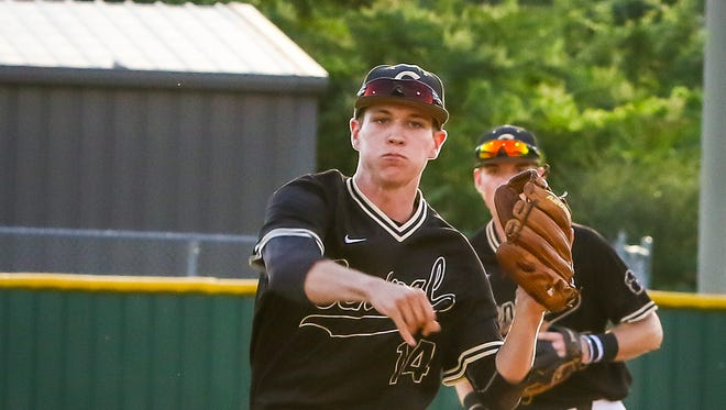 Central Magnet shortstop Dylan Jenkins fires to first during the team's 1-0 win over Pigeon Forge Tuesday in the Class AA state baseball tournament.