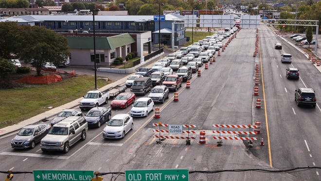 Construction crews will put the final touches on the bridge over Broad Street in Murfreesboro Friday before allowing traffic to flow in both directions Saturday.