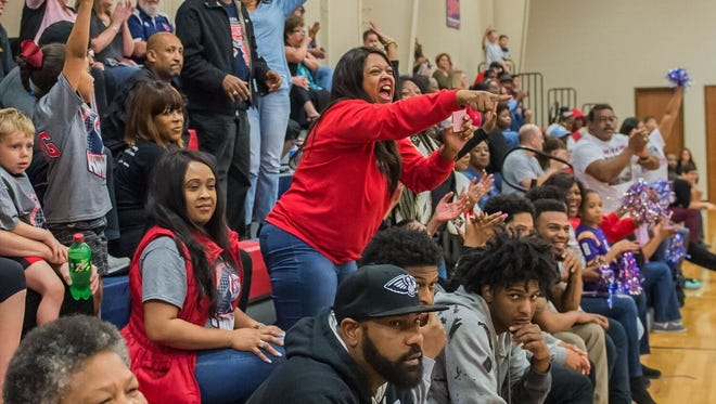 Fans fill the Sportsplex on Thursday as Lafayette Christian Academy takes on Central Catholic in the men's Division IV quarterfinals.