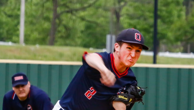 Oakland's Brevin Linnell fires a pitch during Friday's 3-1 win over Blackman. Linnell tossed five shutout innings in the win.