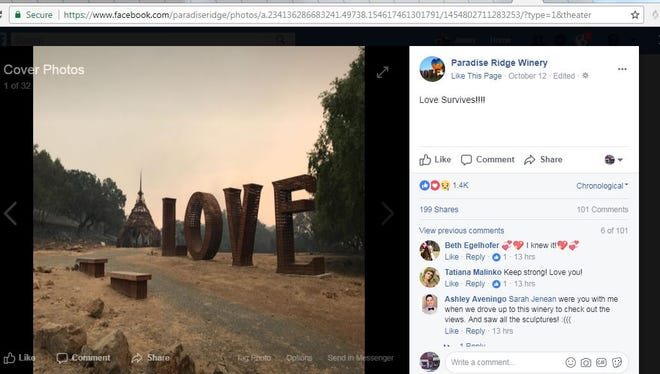 """A screenshot of Paradise Ridge Winery's viral photo of the """"Love"""" sculpture still standing after wildfires tore through the Santa Rosa area earlier this week."""