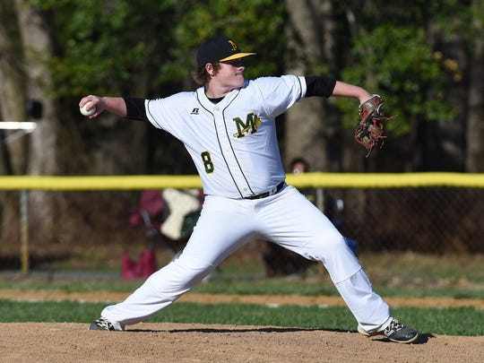 Mardela's Noah Ray delivers to the plate against Pocomoke.