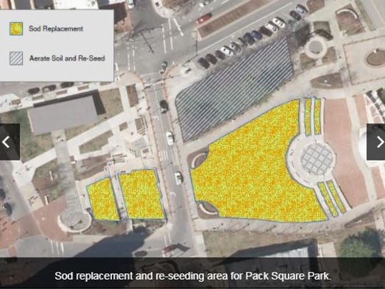 This map shows which portions of Pack Square Prk will be closed until March 23