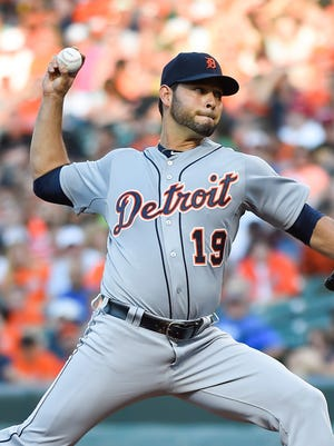 Tigers pitcher Anibal Sanchez throws in Baltimore.