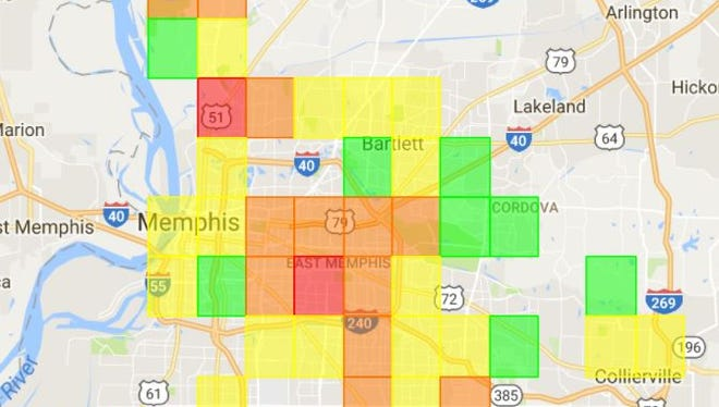 A screen shot of a Memphis Light, Gas and Water web site taken about 4:30 p.m. Friday shows power outages in the Memphis area.